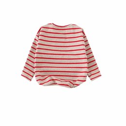 Wholesale Children s Loose Bat Sleeved Sweatshirt Baby Girl Harajuku Style Striped Hoodies Hedging Tracksuit Autumn