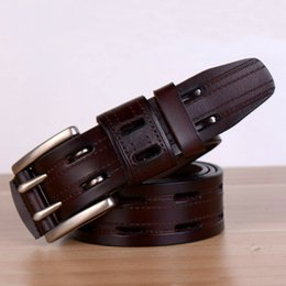 mens brown leather jeans belt 2019 - Wholesale- Men Double Pin Buckle Wide Belts Cow Leather High Quality Mens Casual Brown Belt Luxury Brand Strap For Jeans