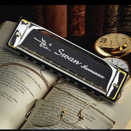 melodica organ 2019 - Wholesale-Blues Harp 10 Holes Swan Harmonica Diatonic Woodwind music instrument Mouth Organ for Blues Rock Country Folk