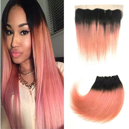 Discount dark pink hair dye - 13x4 Lace Frontal Closure With Bundles Pink Ombre Raw Indian Straight Lace Frontal With Two Tone 1B Rose Gold Dark Root