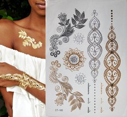 Discount tattoos for back - 10pcs New Metallic Gold Silver Body Art Temporary Tattoo Sexy Non-Toxic Flash Tattoos Sticker For Women tattoo