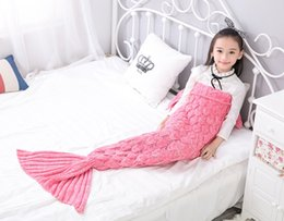 mermaid costumes child 2019 - 140*70cm Children Fashion Knitted Mermaid Tail Blanket Super Soft Warmer Baby Blanket Bed Sleeping Costume Air-condition