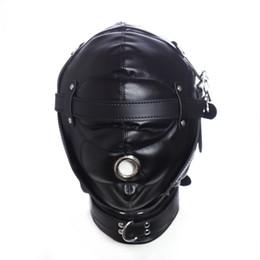 Red black bondage hood online shopping - 2017 BDSM Bondage Leather Hood for Adult Play Games Full Masks Fetish Face Blindfold for Couple Games