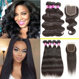 medium length weaves 2019 - Body Wave Brazilian Hair Straight Weaves with Lace Closure Unprocessed Brazilian Lace Closure and Virgin Human Hair 4 Bu