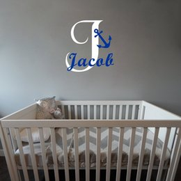 Custom Made Anchor Personalized Boys Name Vinyl Wall Stickers Art Decor for Kids Nursery Room