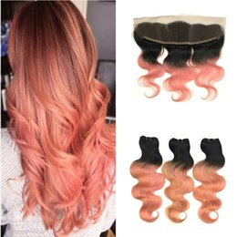 dark pink hair dye 2019 - Two Tone 1B Rose Gold Ombre Body Wave Human Hair Bundles With Lace Frontal Closure Pink Dark Roots Ombre Virgin Hair Wit
