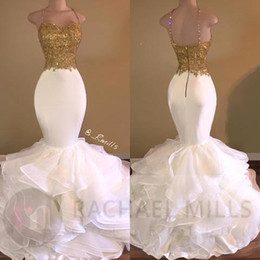 Sexy Straps White Mermaid Gold Appliqued Sequins Prom Dresses 2017 Sparkly Organza Ruffles Sweep Train Evening Party Gowns Arabic Celebrity