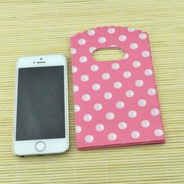 Discount plastic bags 9x15cm - Wholesale-Wholesale 100pcs lot Small White Round Dot Pink Plastic Bag 9x15cm Shopping Jewelry Packaging Plastic Gift Bag