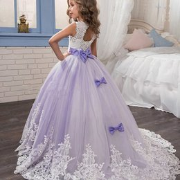 Discount ivory flower girl dress lilac sash - Lilac Ball Gowns Flower Girl Dresses for Weddings Crystal Beaded Lace Appliques Children Birthday Party Dress Bow Girl P
