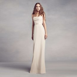 gold cowl back bridesmaid dress 2019 - 2017 NEW! Cowl-Back Crepe Bridesmaid Dress with Illusion Back VW360347 Wedding Party Dress Evening Dress Formal Dresses
