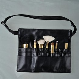 Chinese  Wholesale- Three Arrays Makeup Brush Apron with Artist Belt Strap Leather Make Up Brush Bag Holder Professional Cosmetic Bags Cases neceser manufacturers