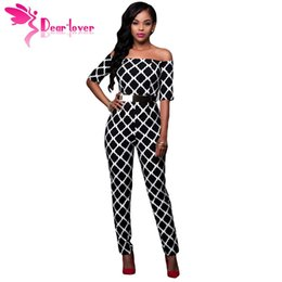 women s dear party 2019 - Wholesale- Dear-Lover Jumpsuit Long Fashion Monochrome Print Black Belted Off Shoulder Romper Overalls for Women Party C
