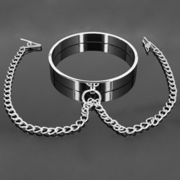 Discount christmas nipple clamps - COUPER Male&Female Cervical Collar with Nipple Clamp,Metal Collar+Breast Clip,Nipple Clip,Breast Clamp,Adult Games,Sex T