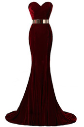 Ship modelS online shopping - Hot Sale In Stock Sweetheart Neck Mermaid Evening Dresses Velvet Burgundy Metal Belt Formal Evening Gowns Prom Dresses