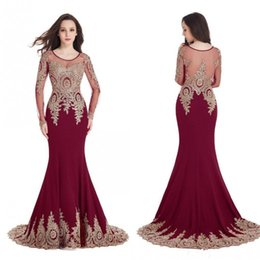 Real Image Cheap In Stock Burgundy Mermaid Evening Dresses Long Sleeves Sheer Scoop Prom Dresses Gold Lace Appliques Robe de Soiree CPS404