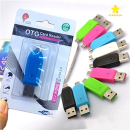 micro sd card android otg 2019 - 2 in 1 USB Male To Micro USB Dual Slot OTG Adapter With TF SD Memory Card Reader with Retail Box For Android