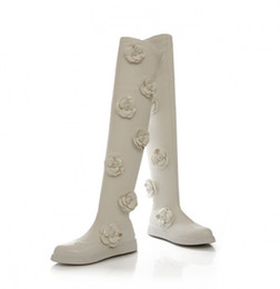 Summer tall bootS online shopping - Small Size Plus Size Black White Leather Over the knee Boots for Women Floral Camellia japonica Female Flats Tall Boots