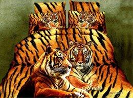 Discount duvets covers - Wholesale- Home Textiles,yellow leopard tiger pattern 3D bedding sets 4Pcs of duvet cover bed sheet pillowcase queen siz