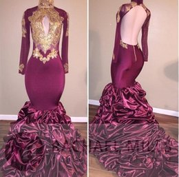 High Neck Long Sleeves Burgundy Mermaid Gold Appliqued Prom Dresses Long 2017 African Evening Party Gowns Robe De Soiree