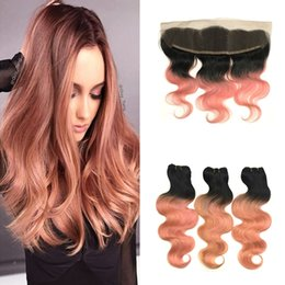 dark pink hair dye 2019 - #1B Rose Gold Body Wave Peruvian Human Hair Weave With Bundles 13*4 Ombre Lace Frontal With Bundles Dark Root Pink Ombre