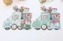 Wishing floWer online shopping - Hot Romantic Paper D Laser Pop Up Greeting Gift Cards Handmade Birthday Cards Postcards Wishes Flower Couple Etiquette Kraft