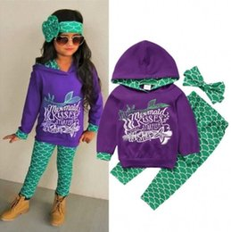 Discount girl hoodies - 2018 Girls Baby Childrens Clothing Sets Cotton Mermaid Hoodies Pants Headbands 3 Pcs Set Spring Autumn Toddler Kids Clot