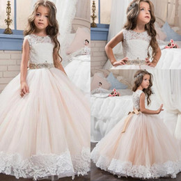 Children gold dress sashes online shopping - 2017 Blush Pink Flower Girls Dresses Jewel Neck Illusion Lace Appliques Beaded Sashes Long Birthday Communion Children Girl Pageant Gowns