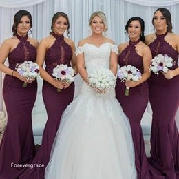 China 2017 Hot Purple Grape Mermaid Bridesmaid Dress Vintage Arabic Halter Neck Lace Top Wedding Guest Maid of Honor Gown Plus Size Custom Made cheap mermaid halter top wedding dresses suppliers