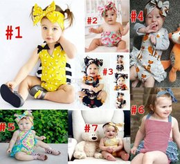 7 Style Baby INS flower fox Rompers Girl honeybee watermelon Cotton Lace print romper Big Bows headbands 2pcs sets baby clothes
