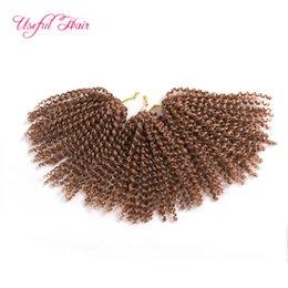 Discount orange curly hair - Malibob crochet hair for black women 8inch Kinky Curly marley braid kanekalon Synthetic Hair Extension marlybob 3pcs Lot