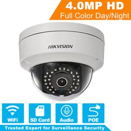 Discount hikvision systems Original HIKVISION Wireless IP Camera WiFi 4MP POE Security IP Dome Camera for CCTV Surveillance System DS-2CD2142FWD-IW
