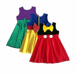 Discount mermaid costumes child - Super Hero Girls Dresses Children Mermaid Snow White Dresses with Big Bow New Kids Cosplay Costume