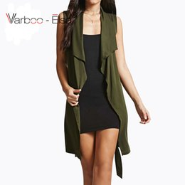Varboo_elsa 2017 Autumn new fashion long pocket turn down collar Adjustable Waist open stitch waistcoat women sleeveless vest Long jackets