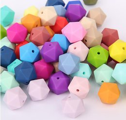 Wholesale 17mm beads online shopping - 17MM Loose Bead BPA Free Silicone Teething Beads for DIY Necklace Teether Nursing Jewelry Food Grade Silicone Icosahedron Beads