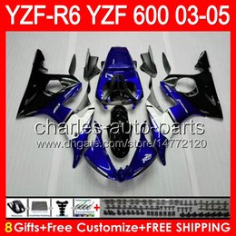 Factory blue 8gifts For YAMAHA YZFR6 03 04 05 YZF600 YZF R6 03-05 83HM1 YZF 600 YZF-600 YZF R 6 YZF-R6 2003 2004 2005 Fairing Kit Blue black