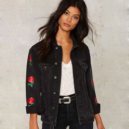 Hot Black Women Denim Jacket Casual Floral Embroidery Streetwear Coat Vintage Button Pockets Commuter Coat free shipping