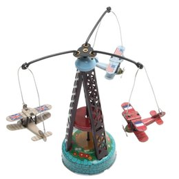 Discount clockwork wind up toys - New Vintage Wind Up Rotating Airplane Carousel Clockwork Toy Collectible Gift