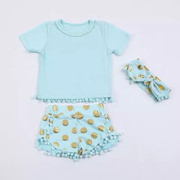 Wholesale Boutique 100% Organic Cotton Baby Toddler girls Clothes Tassels Lace pom pom tops shirt shorts Pants Gold dots sequin set headband