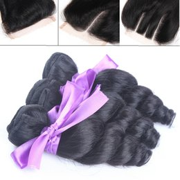 marley hair 2019 - Loose Wave Malaysian Hair and Closures Cheap 3 Bundles Loose Wavy Human Hair Weave with Lace Top Closure Marley Curly Pi