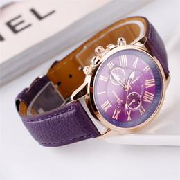 Discount diver watches for men - Fashion Unisex mens women Geneva Roman Numerals Faux Leather Analog Quartz Wrist Watches for women men wrist watch dress