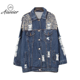 [Aiweier] Women's Jeans Jackets Plus Size Autumn Holes Patchwork Lapel Full Loose Casual Solid Lovers Female Denim Coats QD094