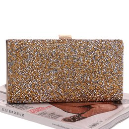 Discount side messenger bag women - Wholesale-One Side Rhinestones Silver Gold Black Clutches Bags Women Messenger Chain Shoulder Bags For Wedding Party Eve