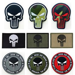 Wholesale Bundle pieces SET The Punisher Skull Tactical Patch Badges D USA Embroidery Army Morale Badge Embroidered Patches