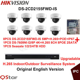 hikvision systems 2019 - Hikvision Original English H.265 CCTV System 8pcs DS-2CD2155FWD-IS 5MP H.265 IP Camera Audio POE+H.265 12MP NVR DS-7608N