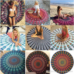 Discount beach blankets wholesale - 2017 New Chiffon Round Mandala Beach Towels Printed Tapestry Hippy Boho Tablecloth Bohemian Beach Blanket Serviette Shaw