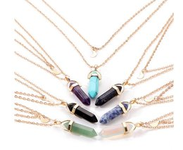 Discount plated bullets - Natural stone glass hexagon column neck chain double moon bullet pendant necklace