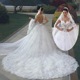 Chinese  2017 Luxury Princess Ball Gown Wedding Dresses vestido de noiva de renda 3D Floral Lace Applique Royal Train Bridal Gowns Arbric manufacturers