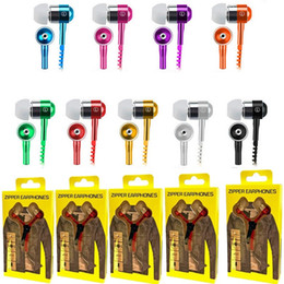 Mp3 player jack online shopping - Earphone Zipper Headset MM Jack Bass Earbuds In Ear Zip Headphone for Iphone Samsung Phone PC MID Ipod MP3 MP4 Player with package