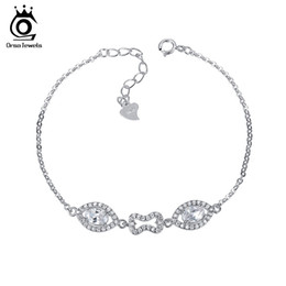 China Orsa Jewelry 925 Sterling Silver Bracelet for Women with Cubic Zircon Crystal Charm Bracelets Wedding Jewelry SB01 supplier zircon crystal link bracelet suppliers