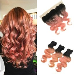 Discount dark pink hair dye - Dark Root Ombre Pink Hair Extensions With Lace Frontal Body Wave 1B Rose Gold Ombre Body Wave Human Hair 3Bundles With F